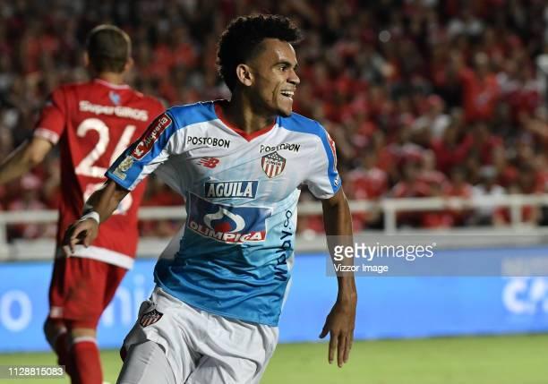 Luis Diaz of Junior celebrates the first goal of his team during a match between America de Cali and Junior as part of Torneo Apertura Liga Aguila...