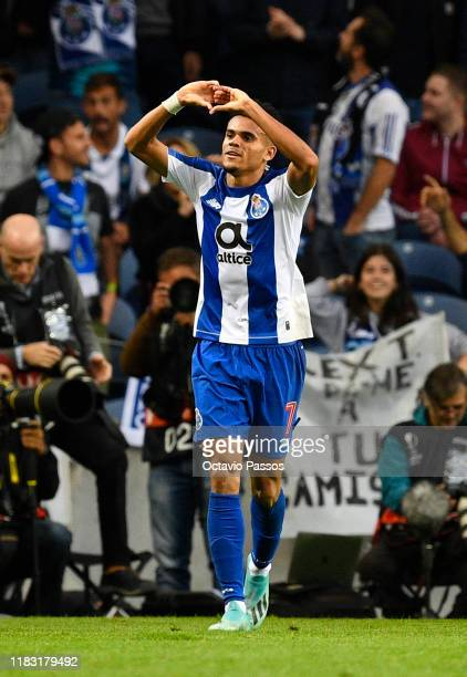Luis Diaz of Porto celebrates after scoring his team's first goal during the UEFA Europa League group G match between FC Porto and Rangers FC at...