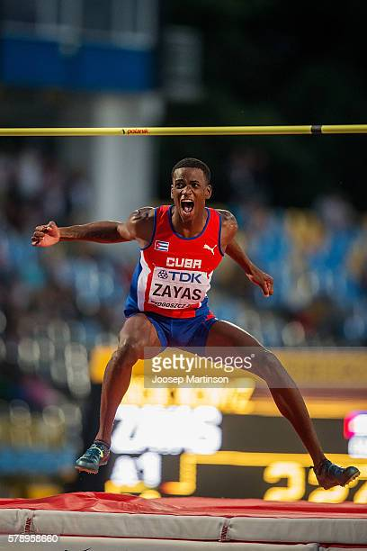 Luis E Zayas from Cuba celebrates winning a gold medal in men's high jump during the IAAF World U20 Championships at the Zawisza Stadium on July 22...