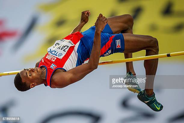 Luis E Zayas from Cuba competes in men's high jump during the IAAF World U20 Championships at the Zawisza Stadium on July 22 2016 in Bydgoszcz Poland