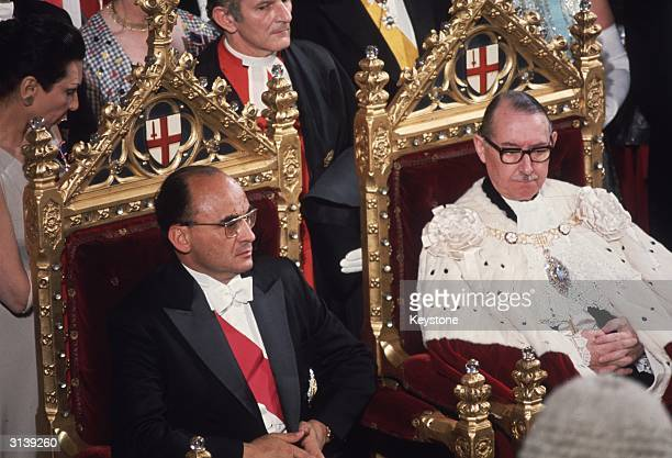 Luis Echeverria Alvarez, President of Mexico sits with Lord Mais, Lord Mayor of London, at a Guildhall banquet in London.