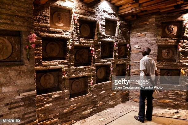 Luis Emilio Monteagudo Arteaga aka Angalia stands in front of the niche with the remains of late Ernesto Che Guevara and other guerilla fighters in...