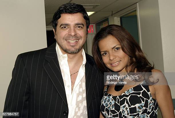 Luis Enrique and Nayana Nava during Ednita Nazario in Concert Backstage July 3 2004 at Jackie Gleason Theatre in Miami Beach Florida United States