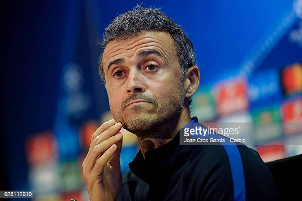 Luis Enrique attend the press at the Sports Center FC Barcelona Joan Gamper before the UEFA Champions League match between FC Barcelona and Borussia...
