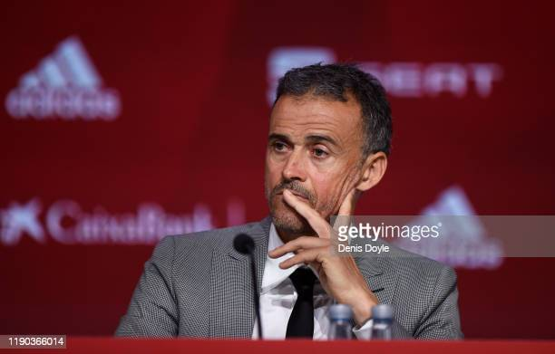 Luis Enrique attends a press conference as he returns as Spain head coach at the Spanish Football Federation headquarters on November 27 2019 in Las...