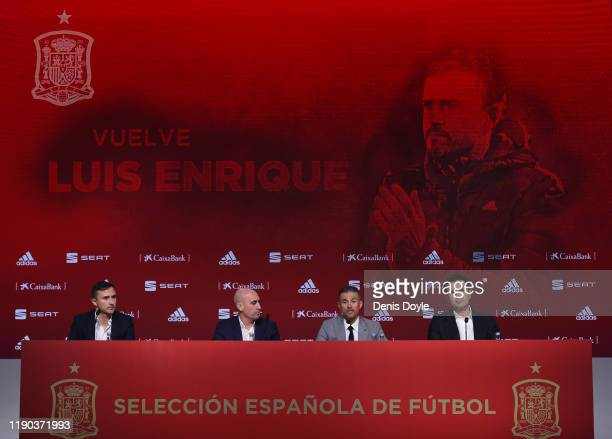 Luis Enrique attends a press conference as he returns as Spain head coach alongside Spanish Football Federation President Luis Rubiales at the...