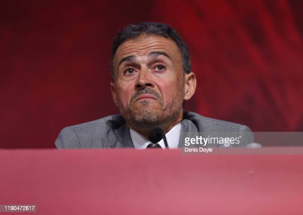 Luis Enrique attends a press conference as he returns as Spain head coach at the Spanish Football Federation headquarters on November 27, 2019 in Las...