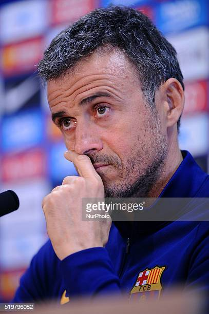 Luis Enrique attends a press conference before Real Sociedad vs FC Barcelona Spanish league match in Barcelona 8 of April 2016