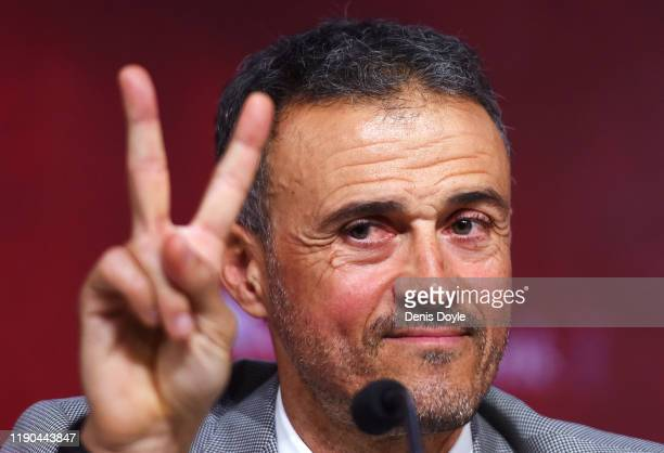 Luis Enrique gestures as he attends a press conference as he returns as Spain head coach at the Spanish Football Federation headquarters on November...