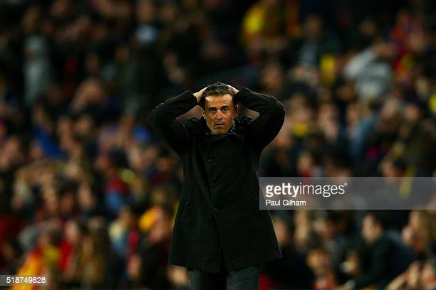 Luis Enrique Head Coach of FC Barcelona reacts on the touchline during the La Liga match between FC Barcelona and Real Madrid CF at Camp Nou on April...