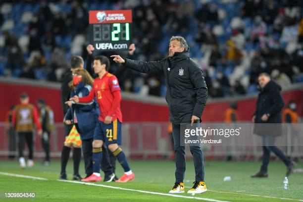Luis Enrique, Head Coach of Spain gives team instructions during the FIFA World Cup 2022 Qatar qualifying match between Georgia and Spain at the...