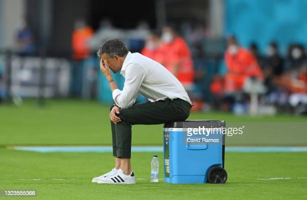 Luis Enrique, Head Coach of Spain reacts during the UEFA Euro 2020 Championship Group E match between Spain and Sweden at the La Cartuja Stadium on...