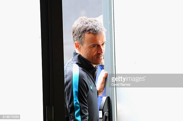 Luis Enrique manager of Barcelona attends a Barcelona press conference ahead of their UEFA Champions League quarter final first leg match against...
