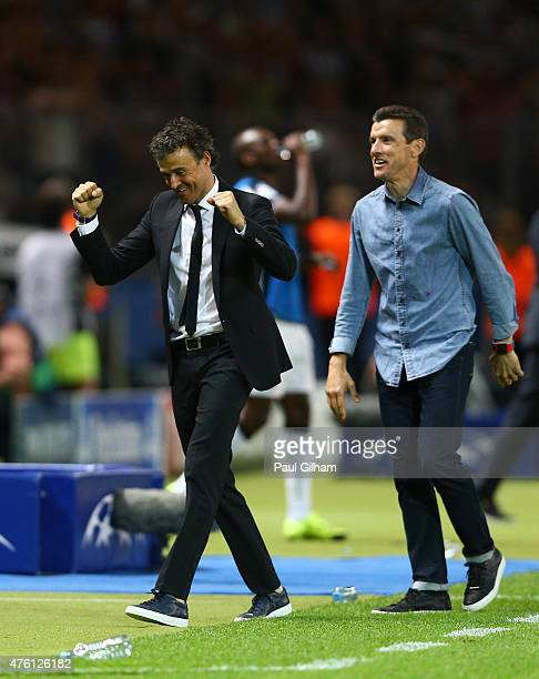 Luis Enrique manager of Barcelona celebrates his team's third goal by Neymar of Barcelona during the UEFA Champions League Final between Juventus and...