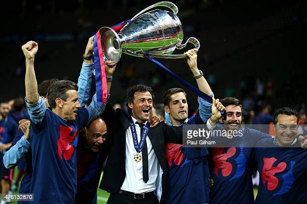 Luis Enrique manager of Barcelona celebrates victory with the trophy after the UEFA Champions League Final between Juventus and FC Barcelona at...