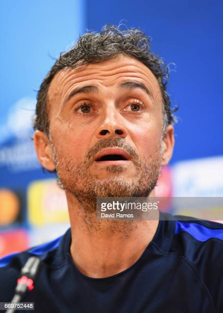 Luis Enrique manager of Barcelona looks on during a FC Barcelona press conference on the eve of their UEFA Champions League quarter final second leg...