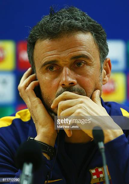 Luis Enrique manager of Barcelona looks on during a FC Barcelona press conference ahead of their UEFA Champions League round of 16 first leg match...