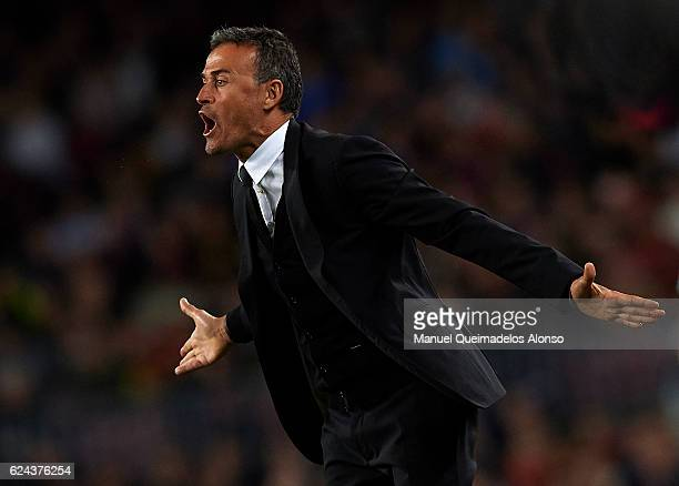 Luis Enrique Manager of FC Barcelona reacts during the La Liga match between FC Barcelona and Malaga CF at Camp Nou stadium on November 19 2016 in...