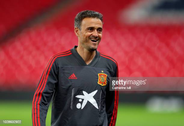 Luis Enrique Manager of Spain looks on during the Spain Training Session at Wembley Arena on September 7 2018 in London England