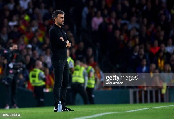 Luis Enrique, Manager of Spain reacts during the UEFA Nations League A Group Four match between Spain and England at Estadio Benito Villamarin on...