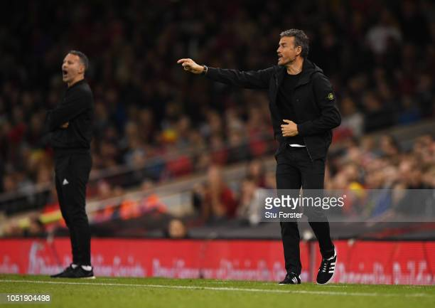 Luis Enrique Manager of Spain signals as Ryan Giggs Manager of Wales looks on during the International Friendly match between Wales and Spain on...