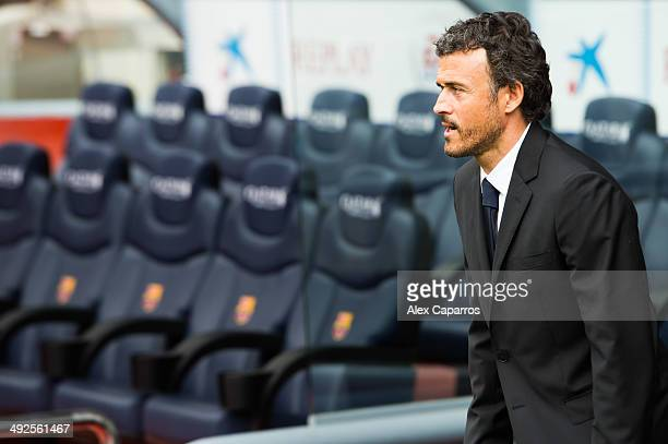Luis Enrique Martinez during his official presentation as new coach of FC Barcelona at Camp Nou on May 21, 2014 in Barcelona, Spain.