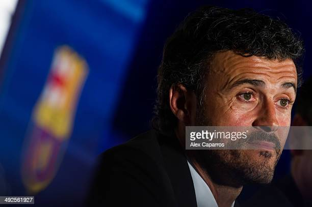 Luis Enrique Martinez faces the media during his official presentation as the new coach of FC Barcelona at Camp Nou on May 21 2014 in Barcelona Spain