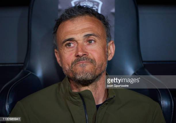 Luis Enrique Martinez head coach of Spain looks during the 2020 UEFA European Championships group F qualifying match between Spain and Norway at...