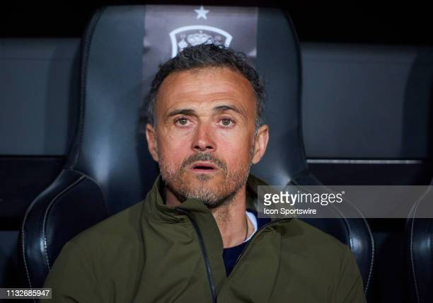 Luis Enrique Martinez, head coach of Spain looks during the 2020 UEFA European Championships group F qualifying match between Spain and Norway at...