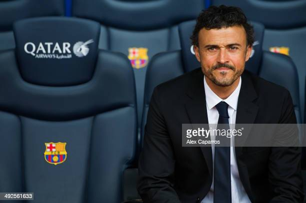 Luis Enrique Martinez poses for the media during his official presentation as the new coach of FC Barcelona at Camp Nou on May 21, 2014 in Barcelona,...
