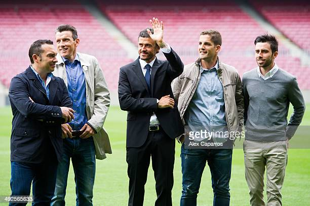 Luis Enrique Martinez poses for the media with members of his staff Joaquin Valdes Juan Carlos Unzue Robert Moreno and Rafael Pol during his official...