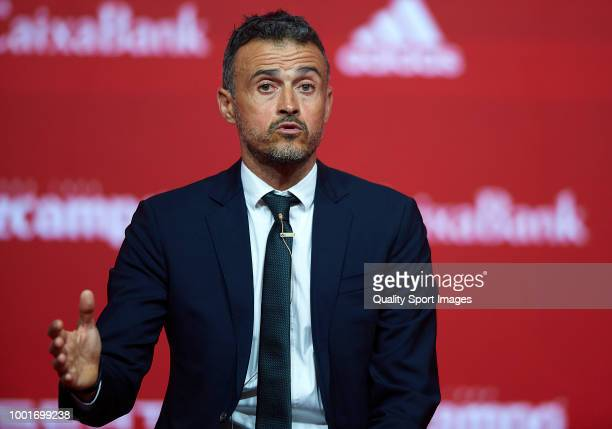Spain new coach Luis Enrique talks to the press during his official presentation as Spain's national football team new coach on July 19 2018 at Las...