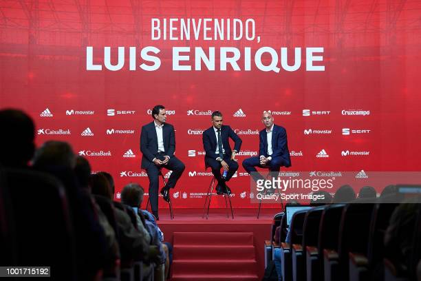 Luis Enrique Martinez speaks next to Luis Manuel Rubiales President of Spanish Royal Football Federation and Jose Francisco Molina during Luis...