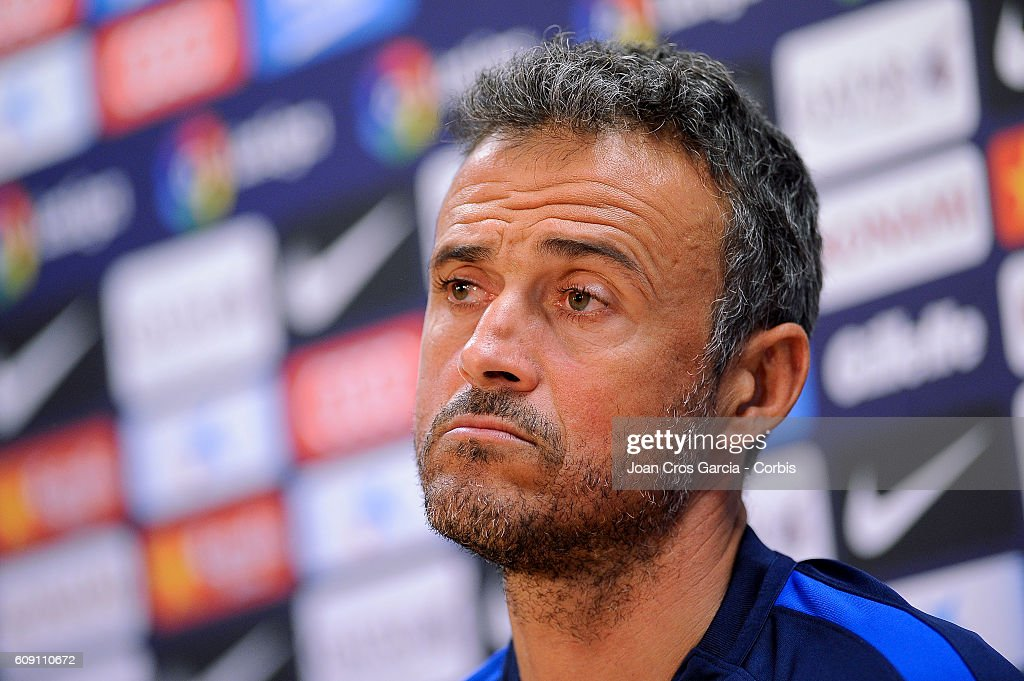 Luis Enrique of FC Barcelona attend the press after training session at the Sports Center FC Barcelona Joan Gamper before the Spanish League match between FC Barcelona vs Club Atlético de Madrid, on September 20, 2016 in Barcelona, Spain.