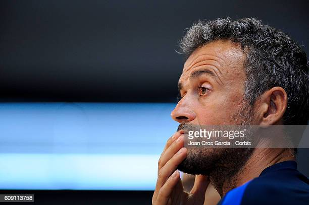 Luis Enrique of FC Barcelona attend the press after training session at the Sports Center FC Barcelona Joan Gamper before the Spanish League match...