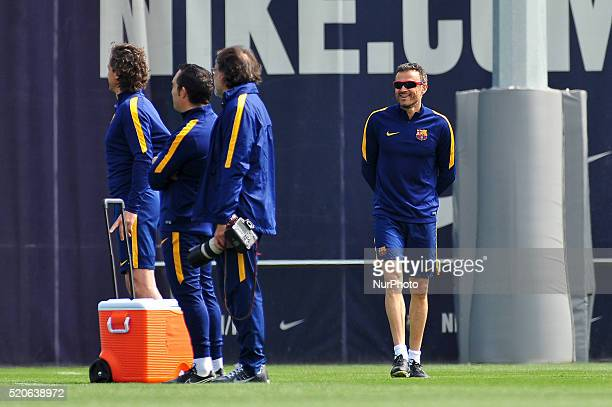 Luis Enrique of FCBarcelona during FCBarcelona training session before Club Atltico de Madris vs FC Barcelona UEFA Champions League match in...