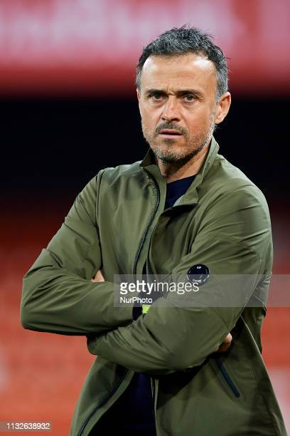 Luis Enrique of Spain before the 2020 UEFA European Championships group F qualifying match between Spain and Norway at Estadi de Mestalla on March 23...