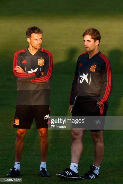 Luis Enrique of Spain looks on during a training session on October 8 2018 in Madrid Spain