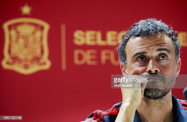 Luis Enrique Spain Manager reacts during the Spain Press Conference at Estadio Benito Villamarin on October 14 2018 in Seville Spain