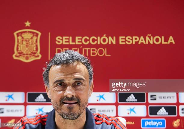 Luis Enrique Spain Manager speaks to the press during the Spain Press Conference at Estadio Benito Villamarin on October 14 2018 in Seville Spain
