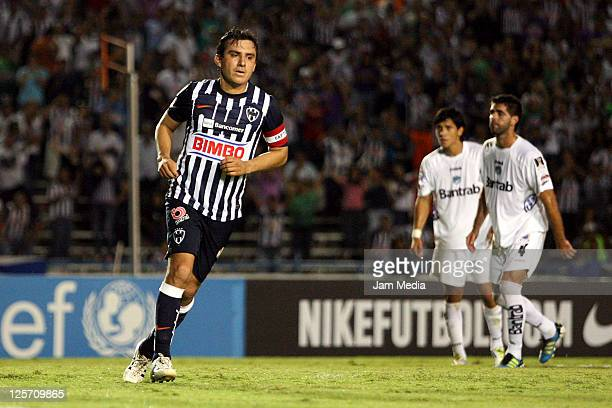 Luis Ernesto Perez of Monterrey celebrates a scored goal during a match against Comunicaciones as part of the Concacaf Champions League 2011-2012 at...