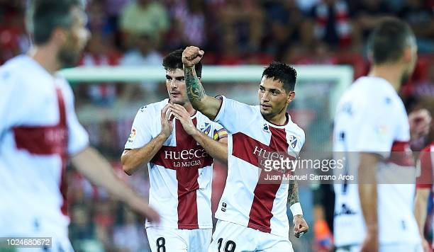Luis Ezequiel Avila 'Chimy' of SD Huesca celebrates after scoring during the La Liga match between Athletic Club and SD Huesca at San Mames Stadium...