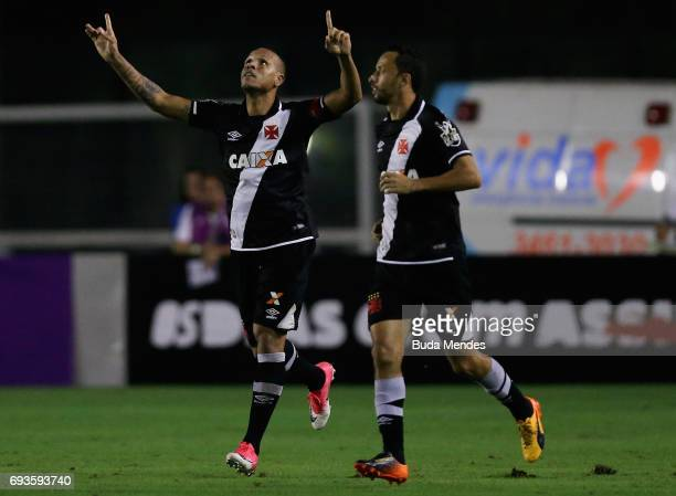 Luis Fabiano and Nene of Vasco da Gama celebrate a scored goal during a match between Vasco and Corinthians as part of Brasileirao Series A 2017 at...