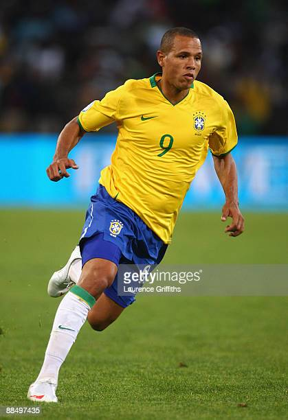 Luis Fabiano of Brazil in action during the FIFA Confederations Cup match between Brazil and Egypt at The Free State Stadium on June 15, 2009 in...