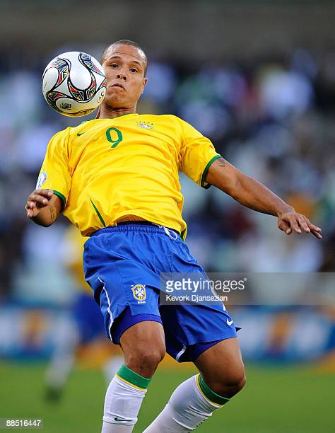 Luis Fabiano of Brazil in action during the FIFA Confederations Cup match between Brazil and Egypt at Free State stadium on June 15, 2009 in...