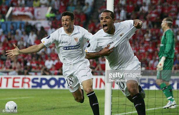Luis Fabiano of Sevilla celebrates scoring the first goal during the UEFA Cup final between Middlesbrough FC and Sevilla FC on May 10 2006 at the PSV...