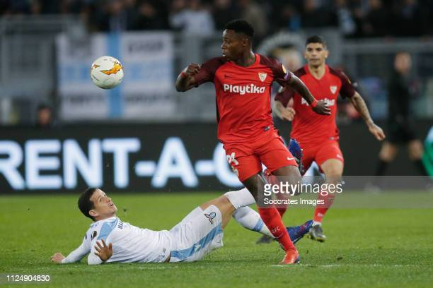 Luis Felipe of Lazio Roma Quincy Promes of Sevilla FC during the UEFA Europa League match between Lazio v Sevilla at the Stadio Olimpico Rome on...