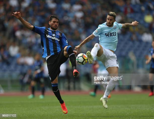 Luis Felipe of SS Lazio competes for the ball with Jose' Luis Palomino of Atalanta BC during the Serie A match between SS Lazio and Atalanta BC at...