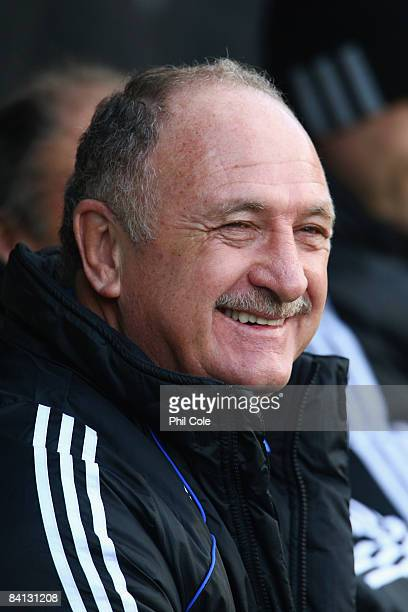 Luis Felipe Scolari the Chelsea manager looks on prior to kickoff during the Barclays Premier League match between Fulham and Chelsea at Craven...