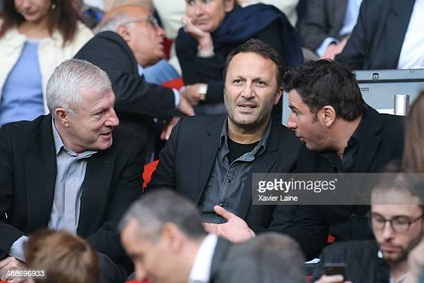 Luis Fernandez Jacques Essebag and Michal Youn attends the French Ligue 1 between Paris SaintGermain FC and Stade Rennais FC at Parc Des Princes on...